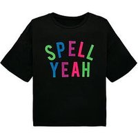 V by Very Girls 'Spell Yeah' Halloween T-Shirt, Black, Size Age: 7 Years, Women
