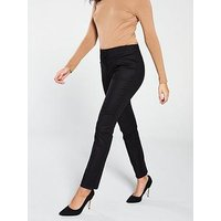 V by Very Cotton Sateen Slim Leg Trouser - Black, Black, Size 10, Women