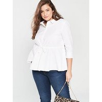 V by Very Curve Tie Waist Cotton Shirt - White, White, Size 20, Women