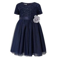 Monsoon Baby Truth Dress, Navy, Size 6-12 Months