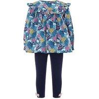 Monsoon Baby Agnes Swan Print Woven Set, Blue, Size 3-6 Months