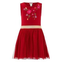 Monsoon Dory Dress, Red, Size 11-12 Years, Women