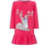 Monsoon Baby Darcy Deer Sweat Dress, Red, Size 3-6 Months