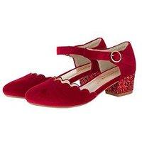 Monsoon Girls Verity Velvet Scallop Charleston Shoe, Red, Size 7 Younger