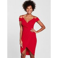 AX Paris Wrap Front Dress - Red , Red, Size 8, Women