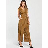 AX Paris Petite Striped Jumpsuit - Mustard, Mustard, Size 16, Women