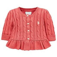 Ralph Lauren Baby Girls Classic Cable Knitted Cardigan - Berry, Berry, Size 12 Months