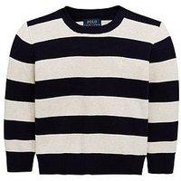 Ralph Lauren Boys Stripe Knitted Jumper, Navy Multi, Size Age: 8 Years=S