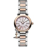 Vivienne Westwood Mother Orb Mother of Pearl and Rose Gold Detail Dial with Charm Two Tone Stainless Steel Bracelet Ladies Watch