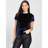 V by Very Velvet T-Shirt - Navy , Navy, Size 20, Women