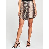V by Very Snake Wrap PU Skirt - Brown, Brown, Size 10, Women