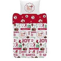Product photograph showing Elf On The Shelf Reversible Christmas Junior Duvet Cover Set
