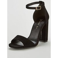 V by Very Bessie Strap Block Heel Sandal Shoes, Black, Size 6, Women