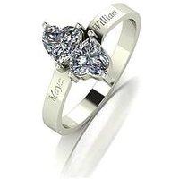 Moissanite Personalised 9ct Gold 1ct eq Moissanite Heart Twist Ring, White Gold, Size Q, Women