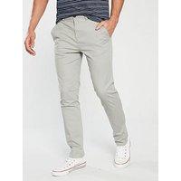 V by Very SLIM FIT STRETCH CHINO, Light Grey, Size 40, Inside Leg Regular, Men