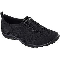 Skechers Skechers Breathe-easy Fortuneknit Plimsoll, Black, Size 4, Women