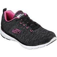Skechers Flex Appeal 3.0 Knit Lace Up Trainers - Grey/Pink, Black, Size 4, Women