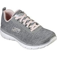 Skechers Flex Appeal 3.0 Knit Lace Up Trainers - Grey/Pink, Grey/Pink, Size 4, Women