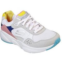 Skechers Meridian No Worries Colour Blocked Lace Up Trainers - Multi, White, Size 7, Women