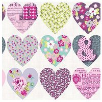Arthouse Patchwork Heart Purple Wallpaper