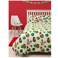 Easy on the Sprouts Christmas Single Duvet Cover Set, Multi