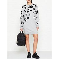 Mcq Alexander Mcqueen Flocked Swallow Print Sweatshirt Dress - Grey