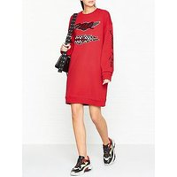 Mcq Alexander Mcqueen Slouchy Sweat Logo Dress- Red