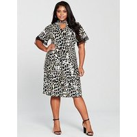 V By Very Curve Choker Neck Lace Trim Jersey Dress - Animal Print