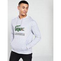 Lacoste Sportswear Big Croc Logo Hoodie - Grey, Grey, Size 5, Men