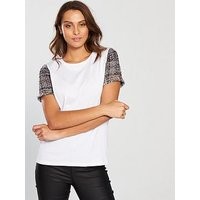 V by Very Tweed Sleeve T-Shirt - White , White, Size 18, Women