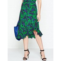 Kenzo Flying Phoenix Asymmetric Ruffled Midi Skirt - Green