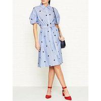 Kenzo Roses Belted Cotton Shirt Dress - Sky Blue