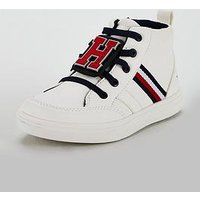 Tommy Hilfiger Toddler Boys High Top Lace Up Sneaker, White, Size 11 Younger