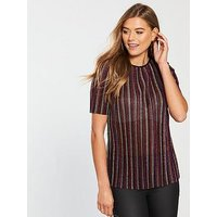 V by Very Pleated T-Shirt - Rainbow, Rainbow, Size 10, Women
