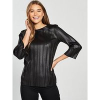 V by Very Wet Look Plisse Pleated Top - Black , Black, Size 10, Women