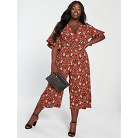 Ax Paris Curve Floral Jumpsuit - Red