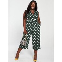 Ax Paris Curve Curve Polka Dot Jumpsuit - Green