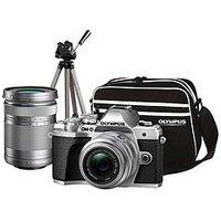 Olympus Om-D E-M10 Mk Iii Compact System Camera Traveller Kit (Silver) Inc 14-42Mm+40-150Mm, Tripod, Bag