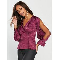 V by Very Jacquard Wrap Blouse - Berry, Berry, Size 12, Women