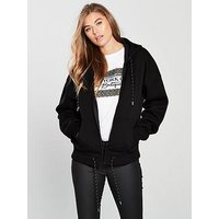 V by Very Zip Through Drawcord Hoodie, Black, Size 16, Women