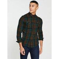Wrangler Modern Western Check Shirt, Faded Black, Size M, Men
