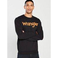 Wrangler Logo Crew Sweat, Black, Size M, Men