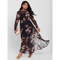 V By Very Curve Stretch Mesh Print Maxi Dress - Printed