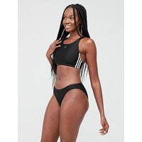 adidas 3 Stripe Bikini - Black , Black, Size 40, Women