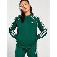 adidas Originals Superstar Track Top - Green , Green, Size 12, Women