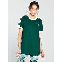 adidas Originals 3 Stripe Tee, Green, Size 14, Women