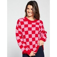 V by Very Checkboard Jumper - Pink/Red, Check, Size 12, Women