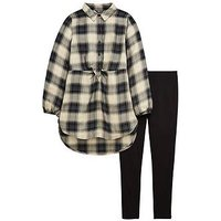 V by Very Check Tie Shirt & Legging Set, Black, Size Age: 11 Years, Women