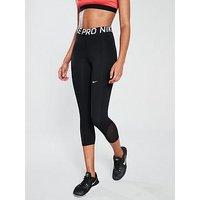 Nike Training Pro Capri - Black, Black, Size L, Women