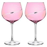 Product photograph showing Portmeirion Auris Pink Gin Glasses With Swarovski Crystals Ndash Set Of 2